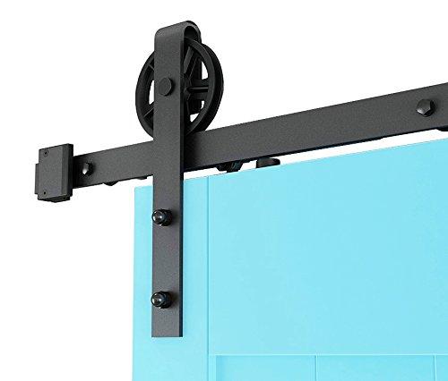 DIYHD 6FT Two Sides Soft Close/Soft Open Industrial Spoke Wheel Sliding Barn Wood Door Interior Closet Door Kitchen Door Track Hardware by DIYHD