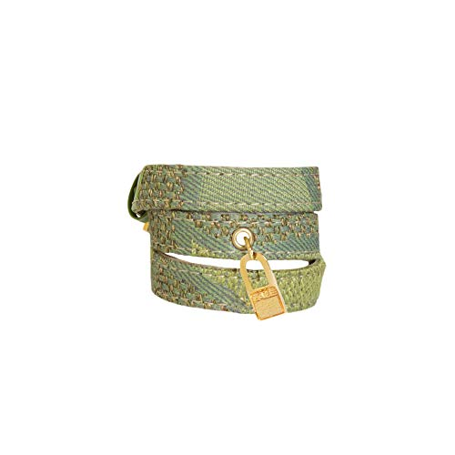 LALÉ Woman wrap Genuine Leather Bracelet, Twists Three Times Around The Wrist   Ironwork Plated in Gold Buckle Closure   Adjustable Size. Handmade Jewelry (Green, 6.5)