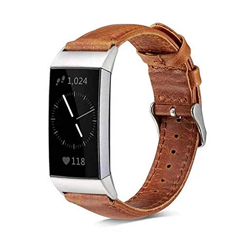 Leather Band Compatible Fitbit Charge 2 Bands Brown for Men Women Kids, Replacement Accessories Strap Classic Durable Genuine Leather Wristband for Charge 2 Small Large with Metal Connectors (Light)