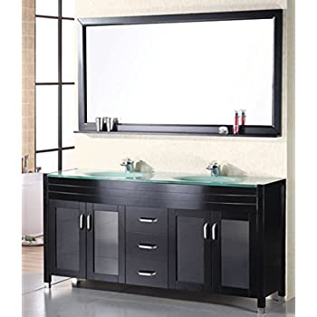 71 Inch Espresso Modern Bathroom Double Vanity