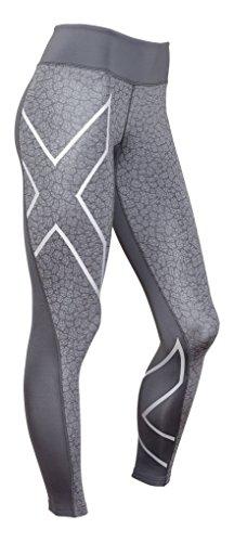 2XU Women's Mid-Rise Compression Tights, Dark Slate/Bone Print, Large by 2XU
