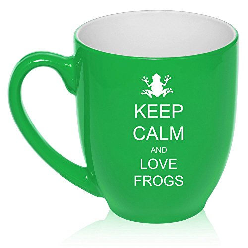 16 oz Large Bistro Mug Ceramic Coffee Tea Glass Cup Keep Calm and Love Frogs (Green)