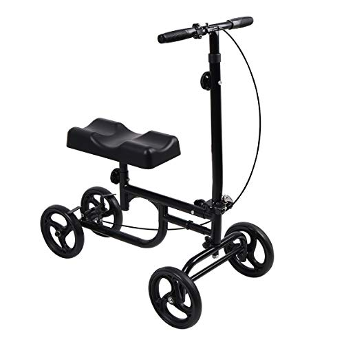 Give Me Economy Knee Scooter Steerable Knee Walker Crutch Alternative with Thick Knee Pad in Black
