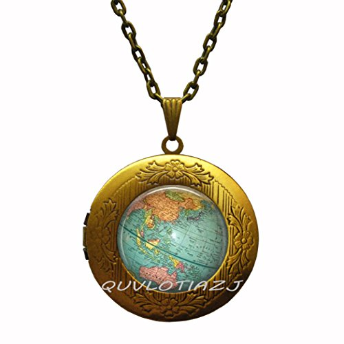 - QUVLOTIAZJ Globe locket necklace World Map Planet Earth Geography locket necklace Key Fob Car Accessories,Globe locket necklace jewelry,ot311 (A2)