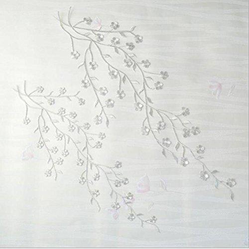 LIGONG 2 Pieces Flower Leaf Embroidery Applique Patch, Plum Blossom Flower Patch Applique (Silver,35cm&45cm)