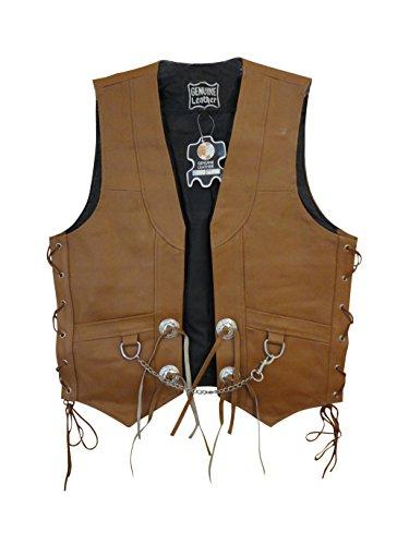 Biker Concho (Men's Tan Leather Chain Conchos Biker Motorcycle Vest Lll-304t (XXX-Large (Chest 52-54