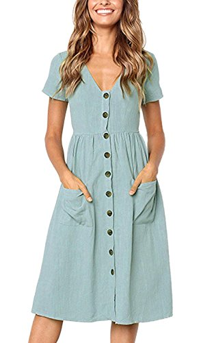 USUASID Womens Summer Dresses Short Sleeve V Neck Button T Shirt Swing Midi Skater Dress with Pockets Light Blue X-Large
