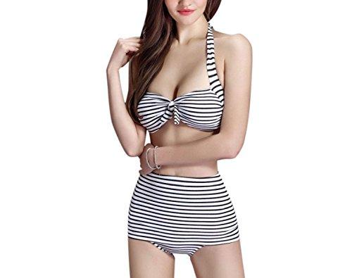 KUWOMINI.Woman Rayas Traje De Baño Bikini Traje De Baño Bikini WhiteAndBlack