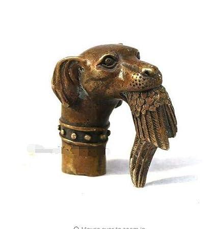 Chinese Old Bronze Hand Carved Dog Bitten Birds Statue Cane Walking Stick Head