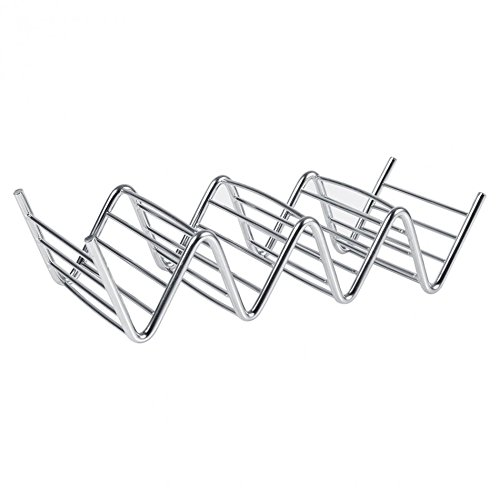 Funnytoday365 Practical Taco Holder 4 Wave Shape Stainless Steel Food Rack Hard Shells Kitchen Tools