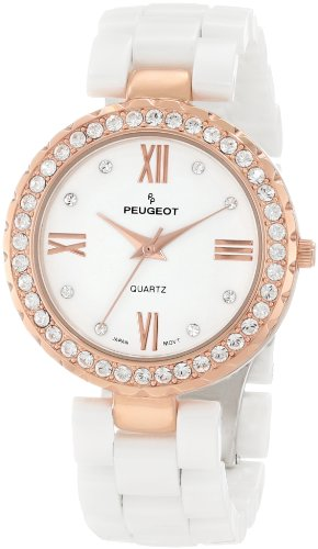 (Peugeot Women's White Ceramic 14K Rose Gold Plated Roman Numeral Face Crystal Dress Watch 7078WRG)