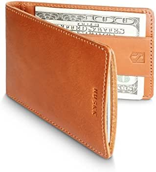 HUSKK Ultra Slim Bifold Leather Wallet - Top Quality Leather - Up to 8 Cards