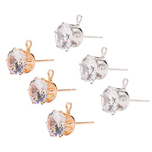 Tiparts 50Pcs Round Clear Cubic Zirconia Stud Earring Gold Silver Copper Earring Findings for DIY Jewelry Making (Zircon Diameter:8mm, Gold&Silver)
