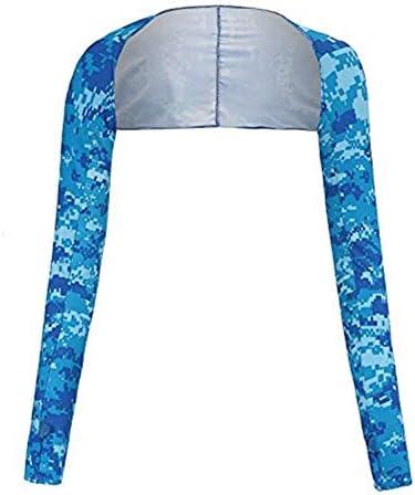 QinTian 女性の冷却ショールアームスリーブ フィンガーホール 超快適&通気性 抗UV レディース日焼け止めクーラーショルダーゴルフ サイクリング ジョギング テニス 乗馬 運転 アウトドアアクティビティ (ブルー)
