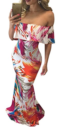 Womens Flowers Floral Printed Off Shoulder Ruffle Party Wedding Maxi Dresses S-XL (L, - Trends And New Styles