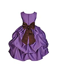 Purple Satin Bubble Pick-Up Junior Flower Girl Dress Princess Dresses 208T S