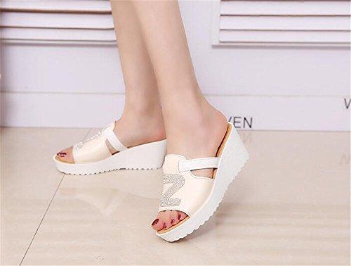 with Sandals Thong Summer Heels Flip pit4tk Beige Sweet Flops Women's Wedge Sandals Platform wgRfq