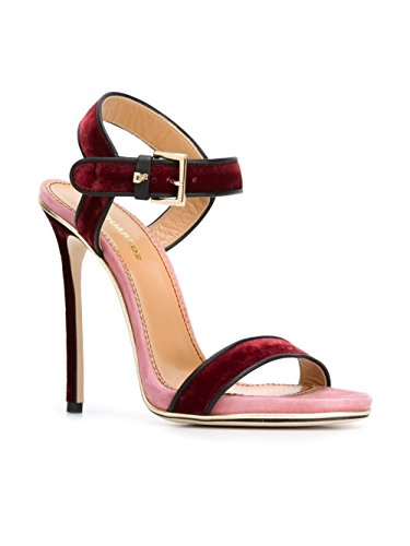 DSQUARED2 FEMME W16C2041045M1081 BORDEAUX/ROSE VELOURS SANDALES