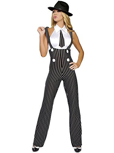Roma Costume 2 Piece Gangsta Mama Costume, Black/White, Small/Medium -
