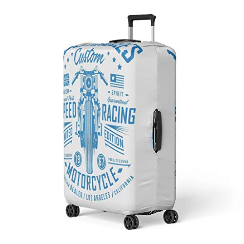 (Pinbeam Luggage Cover Blue Accessories Motorcycle Speed Racing Graphics America Badge Travel Suitcase Cover Protector Baggage Case Fits 26-28)