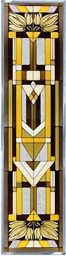 "Mission Style, Craftsman Color, 10.25"" x 42"" Vertical Stained Glass Panel"