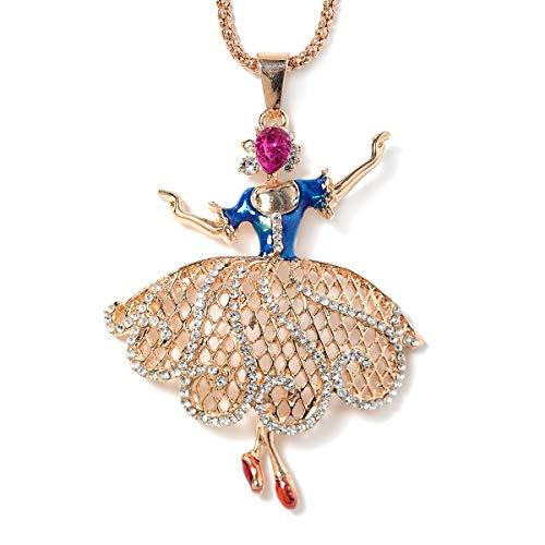 Shop LC Delivering Joy Crystal Chroma Enameled Ballerina Pendant Necklace 30