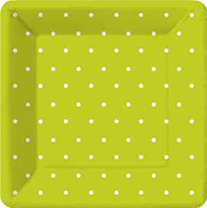 Design Swiss Dot-Lime Green 7 Inch Square Dessert Plate, 8 Plates per Pack,  (Pack of 3)