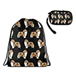 Drawstring Bag, Rough Collie Dog Travel Gym Backpack With Zipper Coin Purse 6