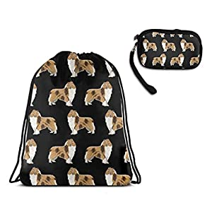 Drawstring Bag, Rough Collie Dog Travel Gym Backpack With Zipper Coin Purse 1