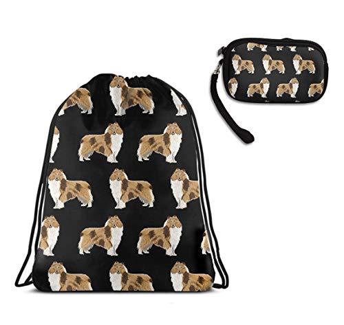 WONDERMAKE Fashion Unisex Drawstring Travel Backpack Double Shoulder Bag + Zipper Change Purse Coin Wallet Card Holder 2pcs Set Rough Collie Dog Polyester Bags