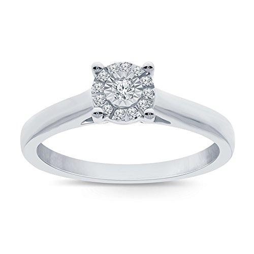 La Joya 1/10Ct White Round Natural Diamond Sterling Silver Solitaire Miracle Plate Ring Engagement Wedding Promise Ring