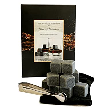 12 Premium Granite Whiskey Stones - Chill Without Diluting Flavour or Aroma - Reusable Ice Cubes - Safe Hygienic - 14 Pce Gift Box Set with 12 Stones Velvet Pouch and Tongs
