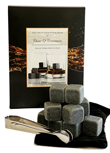 Choice-of-Connoisseurs-12-Reusable-Granite-Whiskey-Ice-Cubes-Stones-with-Velvet-Pouch-and-Tongs-Gift-Box-Set