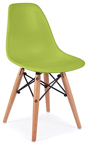 ModHaus Mid Century Modern CHILDREN KIDS Green DSW Chair With Wood Dowel  Base Inpired By Eames