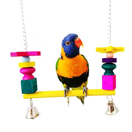 Bwogue Colorful Wooden Bird Swings Perches with Bells for...
