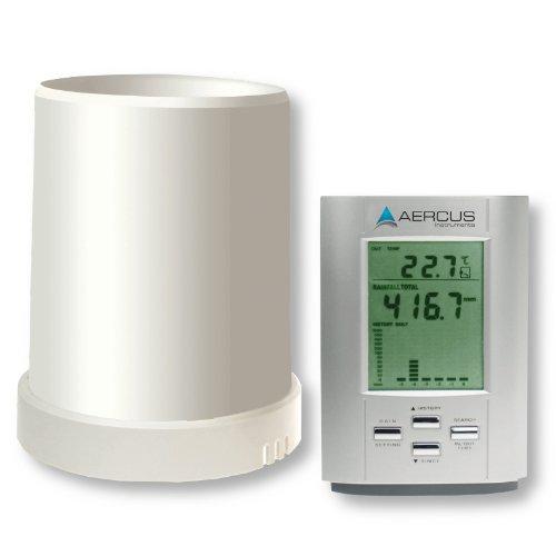 Niederschlagsmesser, kabellos, mit Innen- und Außentemperatur + kostenloser Anleitung (evtl. nicht in deutscher Sprache) Aercus Instruments