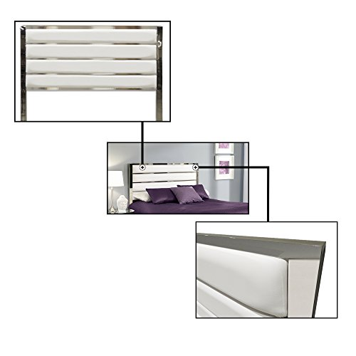 Fashion Bed Group B72526 Impulse Metal Headboard Panel with White Upholstery, Chrome Finish, King by Fashion Bed Group (Image #1)