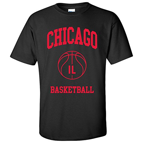Chicago Classic Basketball Arch Basic Cotton T-Shirt - X-Large - Black