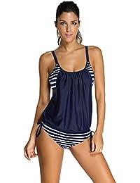 IDEAOLE Womens Stripes Swimsuit Summer Beach Wear Tankini with Triangular Briefs