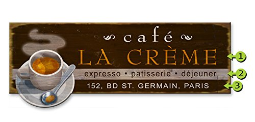 Coffee Cup Cafe Wood Sign 14x36 by Old Signs