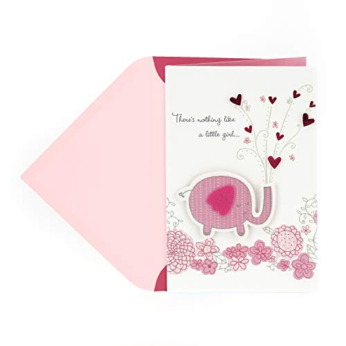 Hallmark Baby Shower Card for Baby Girl (Pink Elephant) -