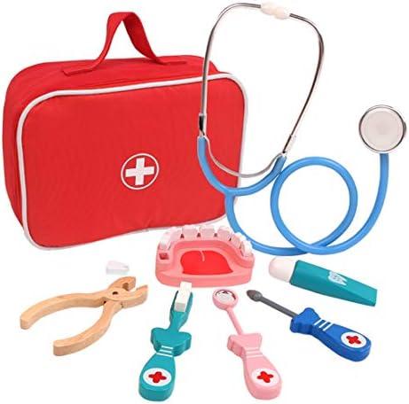 Polai 8 Stück Arztkoffer Kinder Doktorkoffer Arztspiele mit Stethoskop für Kinder ab 3 Jahre / Doctor Set