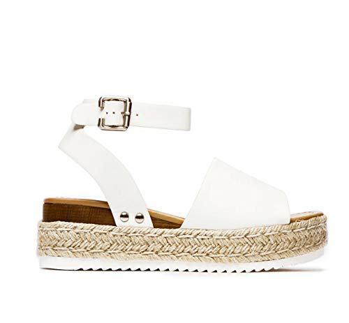 SODA Topic Casual Espadrilles Trim Rubber Sole Flatform Studded Wedge Buckle Ankle Strap Open Toe Sandal (6, Premium Off White)