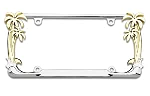 Cruiser Accessories Chrome License Plate Frame with 24 Karat Gold Palm Tree