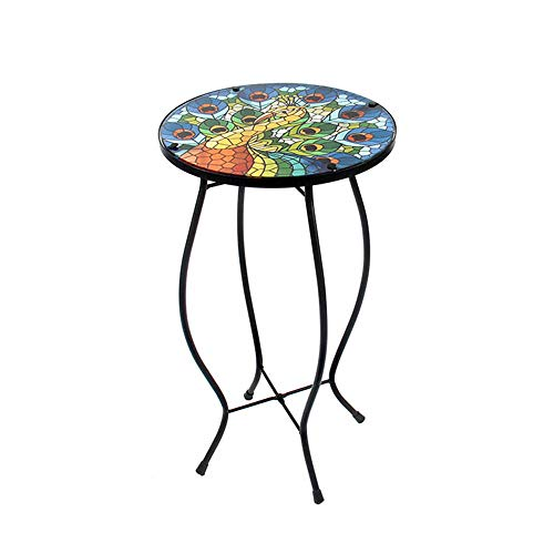 LiffyLiffy Peacock Side Table Outdoor Round Painted Glass Desk for Garden, Dining Room - 21.3'' High ()