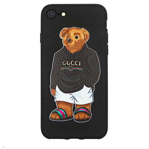 Stylish Bear Custom Fashion Protective Flexible Case/Cover/Skin Leather Finish for iPhone (Black Bear, iPhone 7/8)