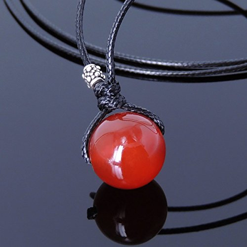 Handmade Red Agate (Men and Women Self-sizable Necklace Handmade with 14mm Red Agate, Genuine 925 Sterling Silver Bead & Korea Wax Rope)