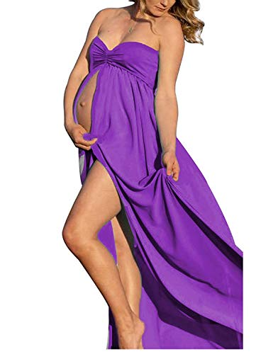 Maternity Summer Off Shoulder Chiffon Gown Split Front Maxi Pregnancy Photography Dresses for Photoshoot (O-Purple)