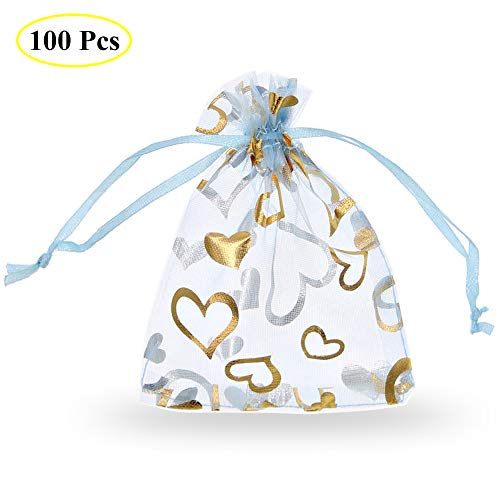 SumDirect 100Pcs 3.5x4.7 Inches Sheer Drawstring Heart Organza Jewelry Pouches Wedding Party Christmas Favor Gift Bags (Light Blue)