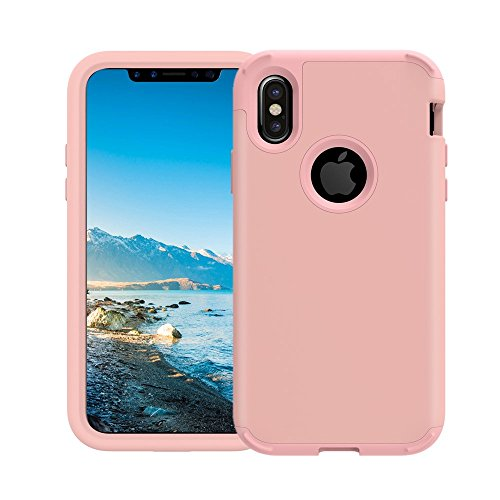 iPhone X Case, iPhone Ten Case, SUMOON 3 in 1 [Full-Body Protective] [Shock-Absorption] Hard PC+ Soft Silicon Rubber Armor Defender Protective Case Cover for iPhone X/10 2017 (Rosegold)